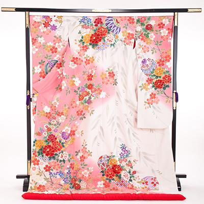 花嫁 正絹 色打掛 010018  ピンク 白ぼかし 友禅 桜