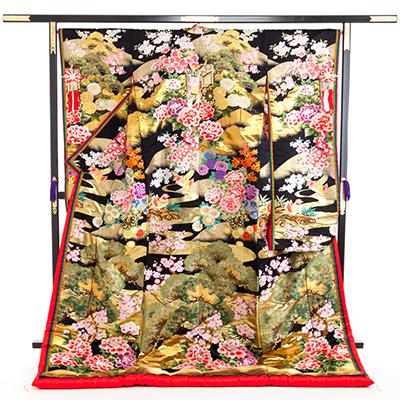 花嫁 正絹 色打掛 010025 黒 松 牡丹 紅葉 重ね