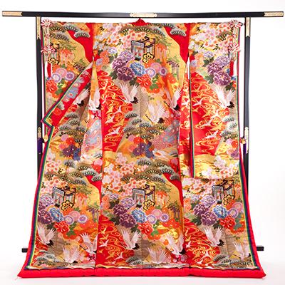 花嫁 正絹 色打掛 010027  赤 ブルー 孔雀 重ね仕立て