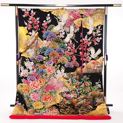 花嫁 正絹 色打掛 010051 黒地 ゴールド箔 梅松 相良刺繍