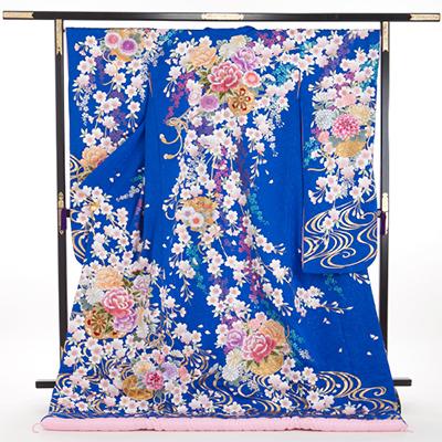 花嫁 正絹 色打掛 010058 ブルー 枝垂桜 花車