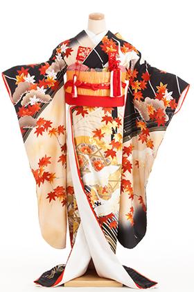 花嫁 正絹 引き振袖 050005 黒 紅葉 鶴