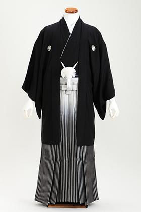 花婿 正絹 紋付・袴 070025 黒無地 対応身長179cm~以上