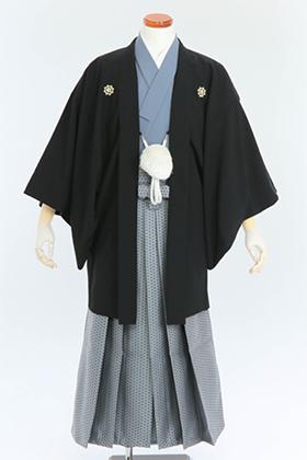 成人式用 紋付・袴 070055 黒にグレー 水玉袴 175cm前後