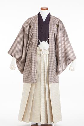 成人式用 紋付・袴 070057 清武 紫着物 ベージュ羽織 白金袴 180cm前後