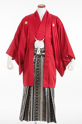 成人式用 紋付・袴 070059  赤 さや型 シルバー・ゴールド袴 175cm前後