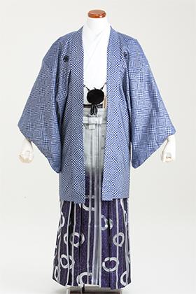 成人式用 紋付・袴 070061 ブルー ちどり 紫ぼかし袴 対応身長175cm前後