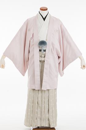 成人式用 紋付・袴 070063 ピンク市松ラメ羽織・白着物・柊白袴 175cm前後