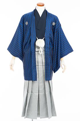 成人式用 紋付・袴 070065 威風堂々 ブルーブロック羽織・黒着物・銀黒ストライプ袴 175cm前後