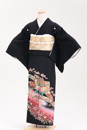 正絹 黒留袖 5紋 120014 ワイン系 扇 七宝柄