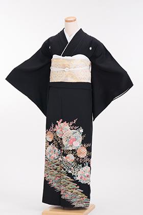 正絹 黒留袖 5紋 120015 グリーン系 汕頭(スワトウ) 刺繍