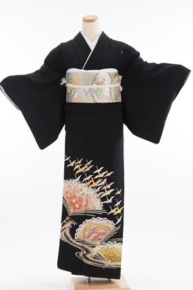 正絹 黒留袖 5紋 120018 松 竹 梅 扇形