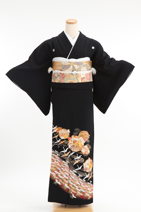 正絹 黒留袖 5紋 120020 丸柄に小菊 鶴