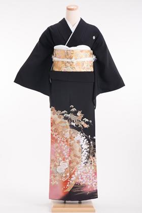 正絹 黒留袖 5紋 120023 ピンク系 箔 紅葉