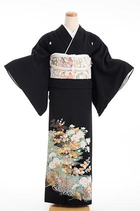 正絹 黒留袖 5紋 120024 グリーン 花柄 金の松