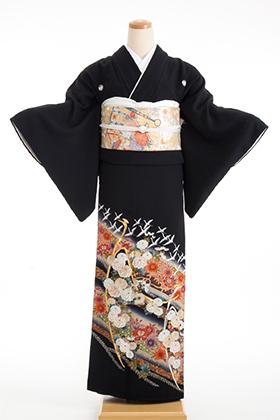 正絹 黒留袖 5紋 120025 山本寛斎 赤茶系 孔雀 刺繍