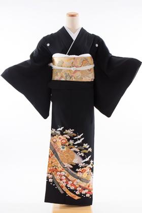 正絹 黒留袖 5紋 120026 熨斗目に菊紋 金彩