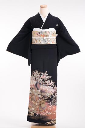 正絹 黒留袖 5紋 120027 桂由美 ピンク 金彩【小柄な人向き】