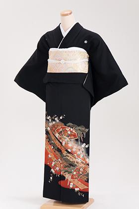 正絹 黒留袖 5紋 120029 朱赤系 熨斗目 扇