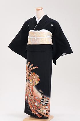 正絹 黒留袖 5紋 120030 オレンジ 束ね熨斗目 孔雀