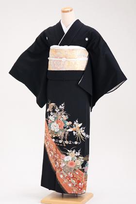 正絹 黒留袖 5紋 120031 オレンジ系 花車【小柄な人向き】
