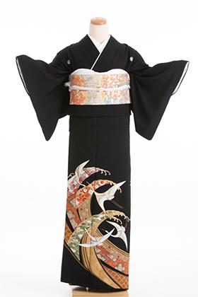 正絹 黒留袖 5紋 120036  色柄鶴に波【ややゆったりサイズ】