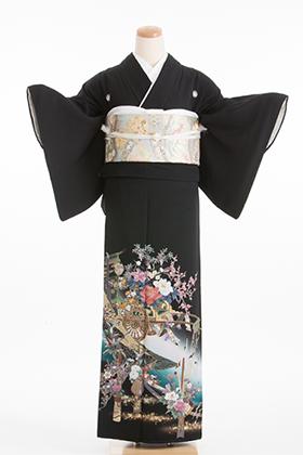 正絹 黒留袖 5紋 120038  ブルー系 花瓶 花車