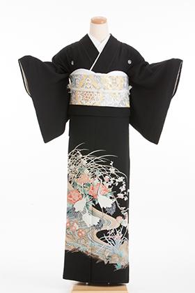 正絹 黒留袖 5紋 120042  白 牡丹 立鶴【ややゆったりサイズ】