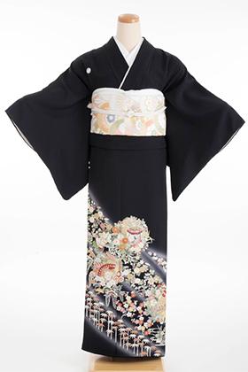 正絹 黒留袖 5紋 120046 吉澤織物 華ぼかし