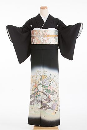 正絹 黒留袖 5紋 120048 縫取桜 牡丹