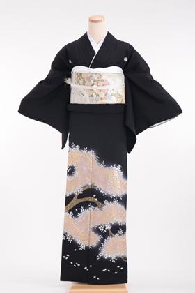 正絹 黒留袖 5紋 120049 ハイクラス 金彩桜