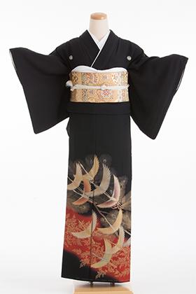 正絹 黒留袖 5紋 120050 朱赤 金の松と鶴