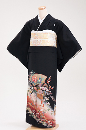 正絹 黒留袖 5紋 120052  赤系 ぼかし 花籠