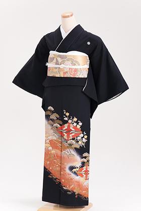 正絹 黒留袖 5紋 120055 オレンジ系 菱鶴