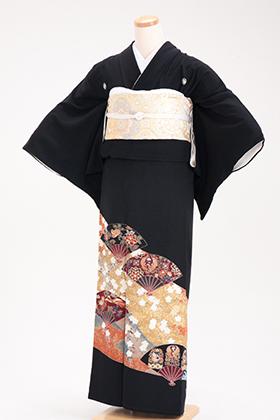 正絹 黒留袖 5紋 120057 金地桜 扇模様