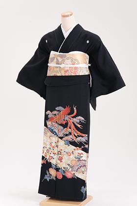 正絹 黒留袖 5紋 120058 ゴールド 鳳凰 紅型風