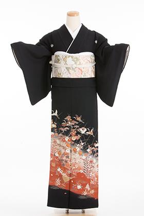 正絹 黒留袖 5紋 120059 赤茶系 秋色 小模様