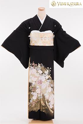 正絹 黒留袖 5紋 120062 桂由美 薔薇 熨斗