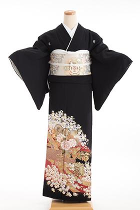 正絹 黒留袖 5紋 120063  金彩 桜 鼓