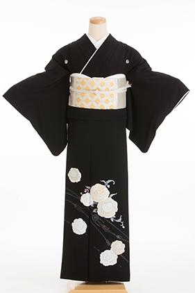 正絹 黒留袖 5紋 120064  白薔薇 ラインストーン
