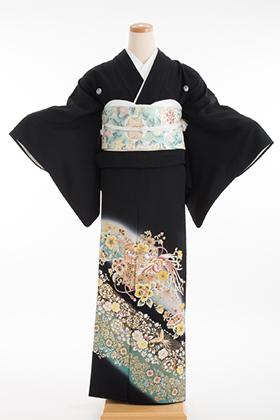 正絹 黒留袖 5紋 120065 グリーン 金彩 鳳凰