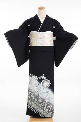 正絹 黒留袖 5紋 120067 更紗 白暈
