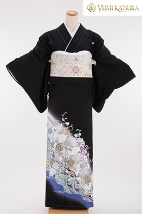 正絹 黒留袖 5紋 120068 桂由美 光彩 薔薇