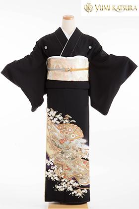 正絹 黒留袖 5紋 120069  桂由美 平安物語 扇