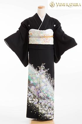 正絹 黒留袖 5紋 120070  桂由美 グリーン フラワーロード