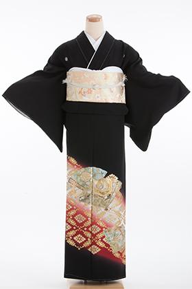 正絹 黒留袖 5紋 120071  ワイン系 金彩 桧扇 菱紋
