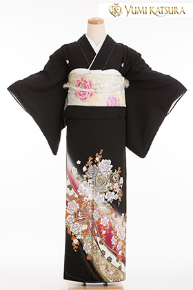 正絹 黒留袖 5紋 120073  桂由美 ロイヤルロード 赤 薔薇