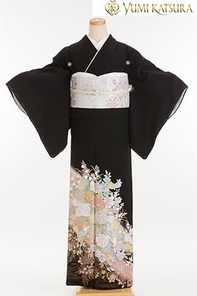 正絹 黒留袖 5紋 120080  桂由美 優しい花園・ピンク系バラ