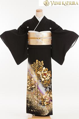 正絹 黒留袖 5紋 120081 桂由美・富貴の庭・ゴールド牡丹