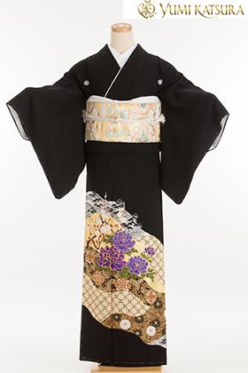 正絹 黒留袖 5紋 120082 桂由美 花祝琳・紫牡丹